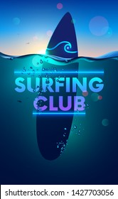 Surfing club vertical banner or background. surfboard underwater in sea on sunset. wave waterline and bubbles on surface of ocean. neon logo surf club on water board. Poster subsea marine landscape.