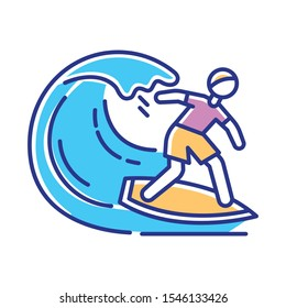 Surfing color icon. Watersport, extreme kind of sport. Catching ocean wave, surfer balancing on board. Man in swimwear on beach. Summer activity and hobby. Isolated vector illustration