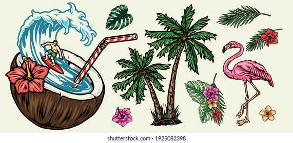 Surfing colorful elements concept with palm trees exotic flowers leaves pink flamingo and happy surfer riding wave in coconut with straw isolated vector illustration