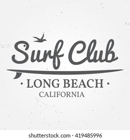 Surfing concept for shirt or logo, print, stamp. For web design and application interface, also useful for infographics. Vector dark grey. Vector illustration.