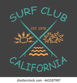Surfing design California with the image of surfboards, sun, palm trees, waves. Design clothes, t-shirts. Vector illustration.