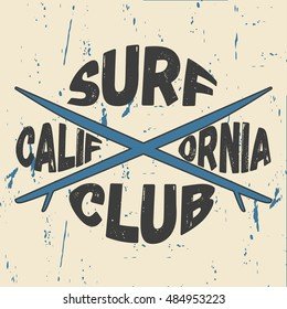 Surfing design California with the image of surfboards. Design clothes, t-shirts. Vector illustration.