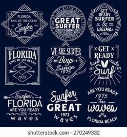 Surfing Design set. Tee Printing. Badge Applique Label set