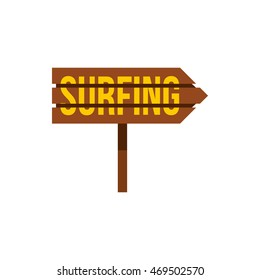 Surfing direction sign icon in flat style on a white background