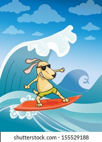 Surfing Dog, vector illustration