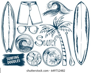 Surfing doodles. Summer sketches set. Ocean. Beach rest. Surf vector. Palm sketch. Doodle summer items. Hand drawn stickers. Surfboard. Wave. Palm. Traveling or vacations design.