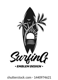 Surfing emblems, illustrations, t-shirt designs vector on white background