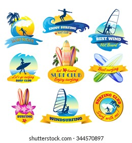 Surfing emblems set with windsurfing boards and surfer silhouettes isolated vector illustration