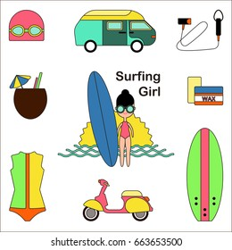 Surfing girl Vector illustration Icons set in thin line style Girl with surf board and equipment for surfing on white background Multicolored icons set