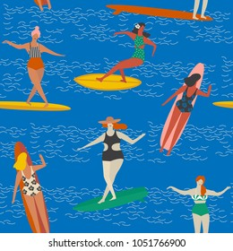 Surfing girls on the surf boards catching waves in the sea. Summer beach seamless pattern in vector