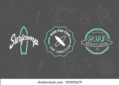 surfing hipster logo with background