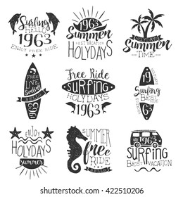 Surfing Holidays Vintage Stamp Collection Of Monochrome Vector Design Labels On White Background