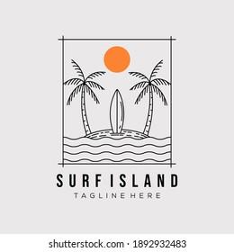 surfing island line art logo vector illustration design. minimalist paradise island outline symbol
