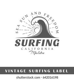 Surfing label isolated on white background. Design element. Template for logo, signage, branding design. Vector illustration