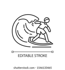 Surfing linear icon. Thin line illustration. Watersport, extreme kind of sport. Catching ocean wave, surfer balancing on board. Contour symbol. Vector isolated outline drawing. Editable stroke