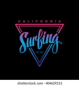 Surfing logo. Surfing calligraphy. Handwritten word. Surf typography, t-shirt graphics. Vector illustration.