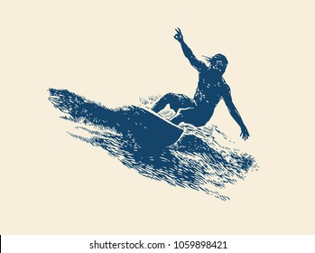 Surfing  Logo Design. Surfer And Wave. Vector Illustration.