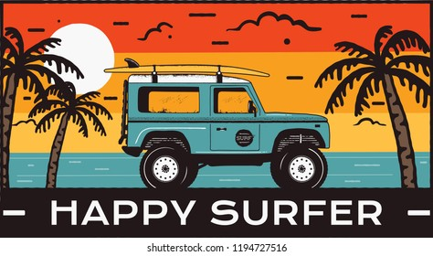Surfing Logo Emblem. Vintage hand drawn travel badge, poster. Featuring surf car riding on the beach and sea landscape. Happy Surfer quote. Stock vector summer beach insignia.