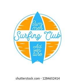surfing logo for surfing festival isolated on white background. vector illustration