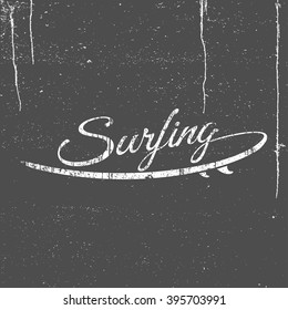 Surfing logo or summer emblem  with surfboard on grunge background, hand drawn brush font, lettering logo composition