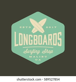 surfing logo. vintage outdoor activity emblem. vector illustration