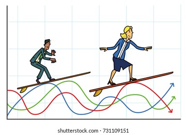 Surfing the markets. Man and woman on surfboards surfing data graphics that can representing stocks, currencies... etc.