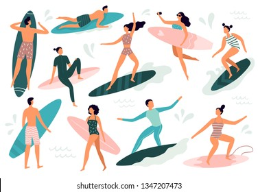 Surfing people. Surfer standing on surf board, surfers on beach and summer wave riders surfboards. Tropical hawaii lifestyle, surfing surfers in swimwear. Vector illustration isolated symbols set