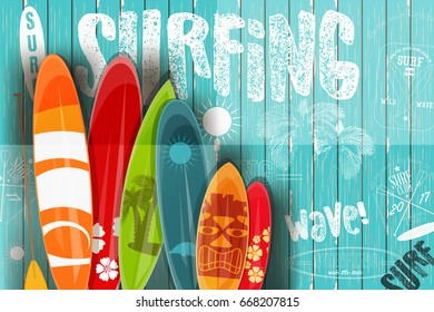 Surfing Poster in Vintage Style for Surf Club or Shop. Surfboards with Different Designs and Sizes on Blue Wooden Background. Vector Illustration.