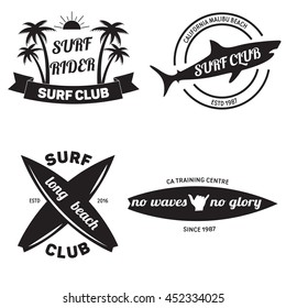Surfing related labels set. Surf club emblems. Surfboards with quotes. Vector vintage illustration.