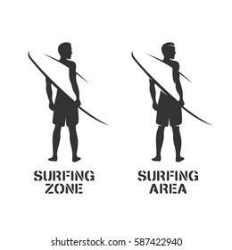 Surfing related wall art stencil. Surfer silhouette with surfboard. Negative space print. Surfing zone and area text. Vector vintage illustration.