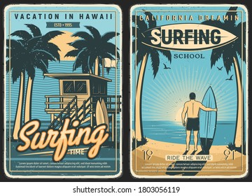 Surfing retro poster, surf beach summer and surfer with surfboard, vector. Tropical California and Hawaii ocean waves, sea, sun and palms, surfing school and summer vacations, car van at island sunset