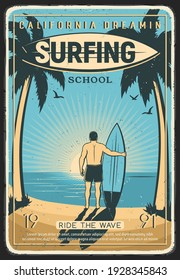 Surfing school retro poster. Surfer with surfboard standing near vintage van on tropical beach, ocean shore or California coastline and looking on sunset engraving vector. Surfing lessons retro banner