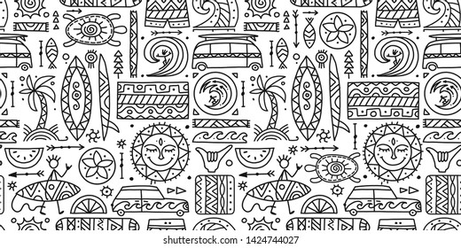 Surfing seamless pattern. Tribal elements for your design