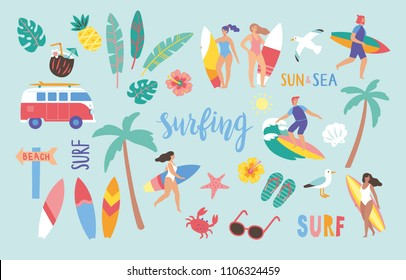 Surfing set in cute cartoon style. Vector illustration.