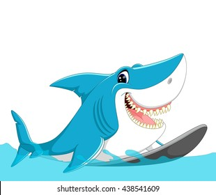 surfing shark cartoon