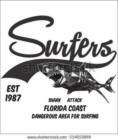 surfing shark print boy apparel custom stock vector royalty free