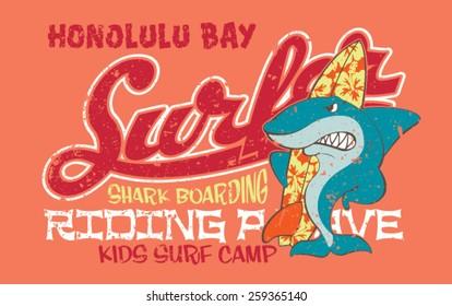 Surfing shark - Vector artwork for children wear in custom colors, grunge effect in separate layer