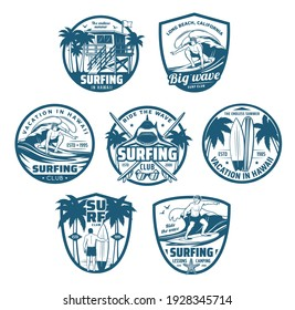Surfing sport isolated vector icons, surfer club symbols with surf board, sportsman on big wave, traveling van and palm trees. Vacation on Hawaii, California beach surfing sports recreation labels set