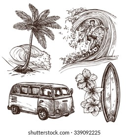Surfing sport and lifestyle wave surfboard beach and van sketch decorative icon set isolated vector illustration