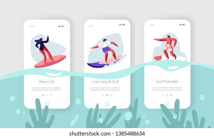 Surfing Sport, Recreation.Mobile App Page Onboard Screen Set. Young Surfers Riding Sea Wave on Surf Board. Summertime Vacation, Leisure Concept for Website or Web Page Cartoon Flat Vector Illustration