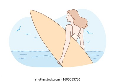 Surfing, sport, summer vacation concept. Young happy woman surfer in bikini, girl teenager athlete stands on sea ocean coast with surfboard. Exstreme sport activity. Lifestyle. Summer vacation. Vector
