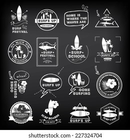 Surfing summer icons,vector labels collection.