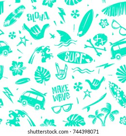 Surfing Summer time seamless pattern. Surfing pattern with tropical elements for print fabric design. Surf grunge design elements for print fabric, t-shirt, summer poster. Endless background