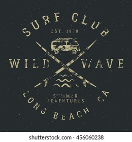 Surfing tee design in vintage rubber style with surf symbols - old rv car, surfboards and summer typography - wild wave, surf club. Vector hipster patch for t shirt, clothing print.