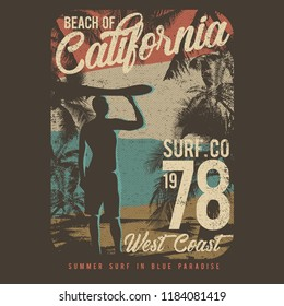 Surfing Theme, Beach of California, idea for t-shirt design
