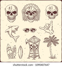 Surfing theme set with hand drawn skull, palm, shark, surfing boards