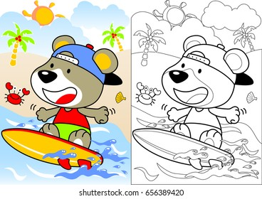 surfing time with little bear, vector cartoon, coloring book or page