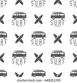 Surfing trip pattern design. Summer seamless design with surfer van, surfboards. Monochrome combi car. Vector illustration. Use for fabric printing, web projects, t-shirts or tee designs.