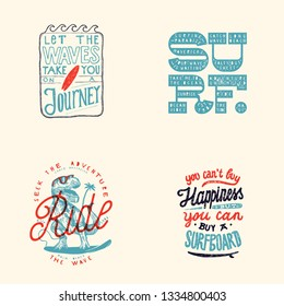 Surfing t-shirt print design set: Let the waves take you on a journey, surf bold letters, t-rex dinosaur surfer, you can't buy happiness - but you can buy a surfboard.