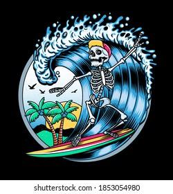 Surfing T-shirt Vector Designs. Vector Logo Illustration with Skeleton Surfer. Vintage Surfing Emblem for web design or print. Surfer logo templates. Surf Badge. Surfboard elements.